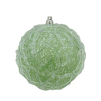 "3"" Silver Plated Dots Candy Logo Mulit- Colored Christmas Tree Ornament with European Crystals"