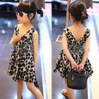 Kids Princess Girls Leopard One Piece Dress V-neck Skirts Clothes Chiffon 2-6T = 1958264452