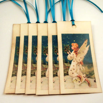 Angel Tags - Victorian Angel Gift Tags with Holly Boughs - Christmas Tags, Vintage Style Holiday Gift Tags - Set of 6