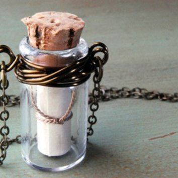 Message In A Bottle Necklace Wire Wrapped Secret Message Necklace.