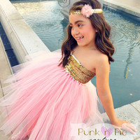 Blush Pink and Gold Flower Girl Tutu Dress with shoulder straps - The Golden Girl