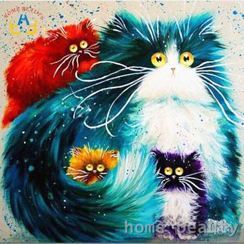 LMFONQK Diy oil painting by numbers abstract acrylic paint animal color cats  decorative canvas painting coloring by number drawing Y080