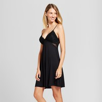 Women's Total Comfort Empire Lace Trim Chemise - Gilligan & O'Malley™ Black