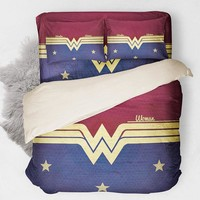 Wonder Woman Bedding Set Duvet Cover Red Blue Bed Sheet Single Queen King Size USA AU UK 14 SIZE Bedlinen Bedclothes 3/4PCS