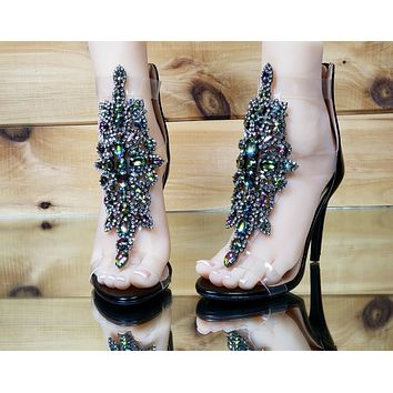 "Bella Luna Rylee Rhinestone Jeweled 4"" High Heel Sandal Shoe Black 7-11"