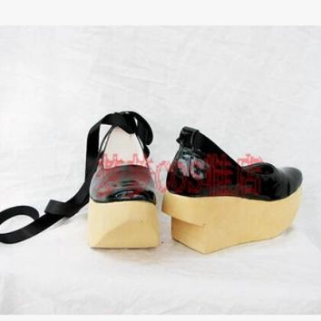 anime NANA VIVIENNE cosplay costume lolita clog gate pu leather black party shoes