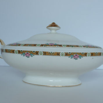 Thompson Aladdin China Serving Dish Covered Casserole Gold Chartreuse Black