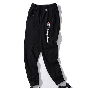 Champion New Fashion Tide brand casual loose printed sports trousers Black