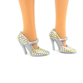 Barbie Doll Shoes - Gray Fashion Doll Shoes with Gold and Silver Design