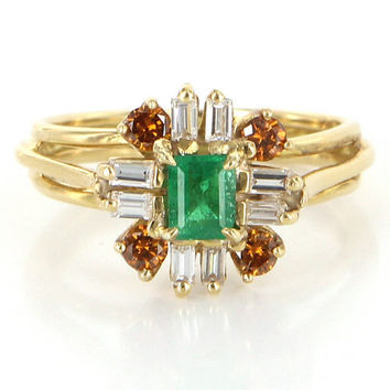 Vintage 18k Yellow Gold Emerald Colored Diamond Cocktail Ring Estate Jewelry