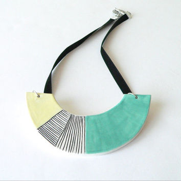 Ceramic necklace, turquoise geometric necklace, geometric statement jewellery,
