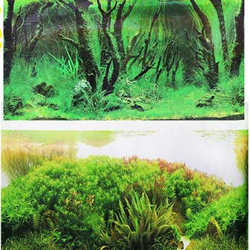60CM / 50CM / 40CM Tall Aquarium Background Poster Double Sided Picture Wall Decor Glossy
