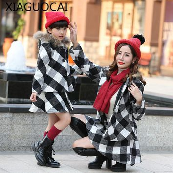 XiaGuoCai Family Matching Outfits Mother Daughter Girl coat + Short skirt Two pieces sets Autumn Winter lattice clothes l193 35