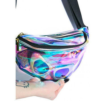 2016 New Women Waist Packs Fashion Women Bag Female Bag Rainbow transparent Bag Punk chic Hologram FANNY PACK Punk Bum Bag Purse