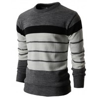Mens Casual Cotton Striped Pullover Sweater of Various Colors (KMOSWL017)