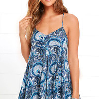 Magic All Around Blue Print Swing Dress