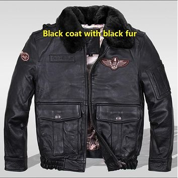 Winter Aviator Jacket Men Natural Cowskin Coat jacket men winter waterproof Factory Price Quality Guaranteed UPS Free Shipping
