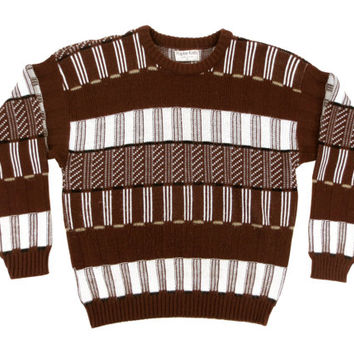 Vintage Brown and White Sweater - Striped 80's Retro Pullover Geometric Abstract - Men's Size Large Lrg L