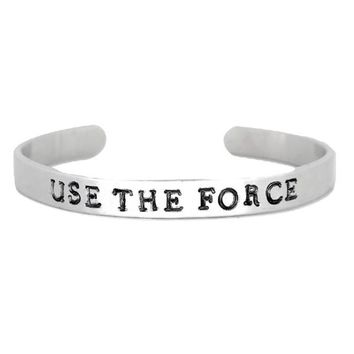 Star Wars Hand Stamped Use The Force Cuff Bracelet