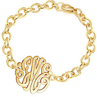 Monogrammes Initials Bracelet (Order Any Initials) -with 24K Gold Overlay