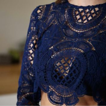 toby heart ginger x love indie balmain sheer lace top in navy