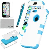 iPhone 5C Case, ULAK 3in1 Anti Slip IPhone 5C Case Hybrid with Soft Flexible Inner Silicone Skin Protective Case Cover for Apple iPhone 5C Blue + White