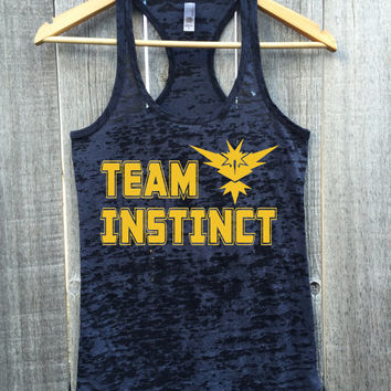 Team Instinct. Team Yellow Womens Gym Gift Workout Burnout Racerback Tank Top