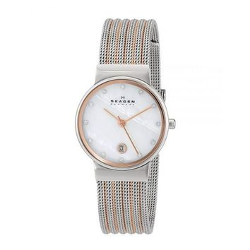 Skagen Womens 355SSRS Two-Tone Stainless-Steel Analog Quartz Watch with Mother-Of-Pearl Dial
