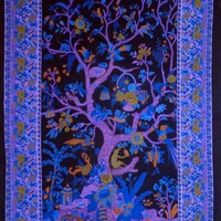 Handmade Cotton Tree of Life Tapestry Tablecloth Spread Black Purple 88x104 Full
