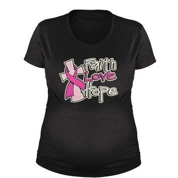 Faith Love Hope Breast Cancer Awareness Maternity Pregnancy Scoop Neck T-Shirt