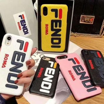 Fendi Tide brand leather hard shell iPhoneXR mobile phone case cover