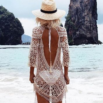 Knit Backless Bikini Cover Ups Beachwear
