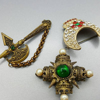Brooch lot of 3 Maltese Cross  Battle Axe and Crown