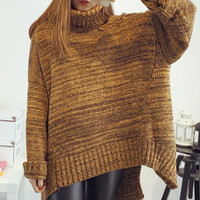 Yellow Turtleneck Long Sleeve Batwing Loose Sweater