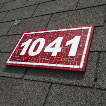 Mosaic House Number Plaque in Red and White Glass Tiles
