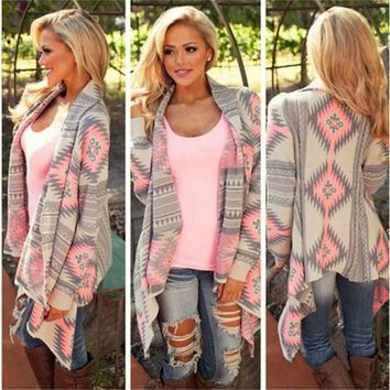 [4199] Women Tribal Long Sleeve Cardigans Asymmetrical Sweaters