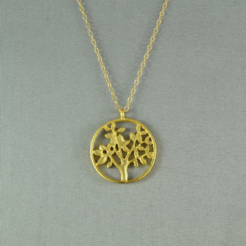 Life Tree Necklace, 18K Gold Vermeil, 14K Gold Filled Chain, Modern, Simple, Everyday Wear Jewelry