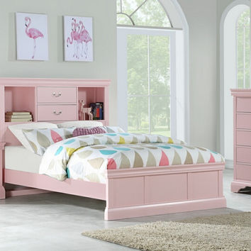 Poundex F9424T 3 pc bookcase headboard light pink finish wood twin / full bed set