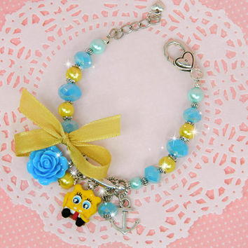 spongebob jewelry, spongebob bracelet, spongebob birthday, spongebob party favor