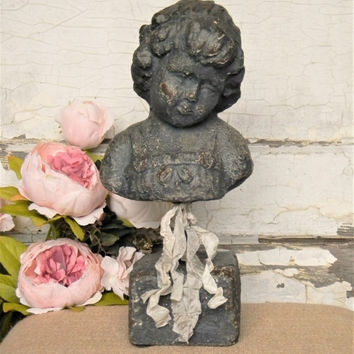 Child Statue,Statue of little girl, Little Girl Statue,French Decor,French Country,Shabby Cottage,Statue of a child,Statue Decor