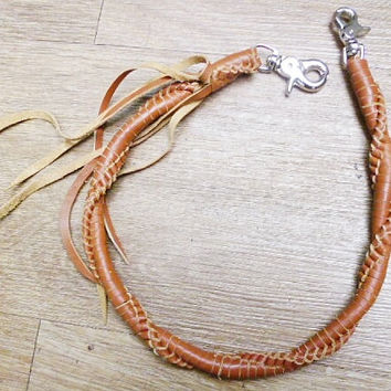 handmade woven leather key lanyard brown light thick