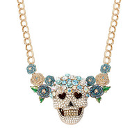 SKULLS AND ROSES FLOWER SKULL NECKLACE: Betsey Johnson