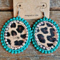 Turquoise Leopard Oval Earrings