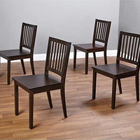 Slat Espresso Wooden Dining Chairs (Set of 4)