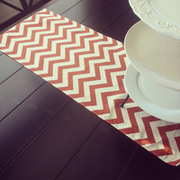 Table Runner- VILLAGE RUST Burnt Orange Chevron ZigZag Premier Prints- Thanksgiving, Fall, Home Decor- Pick a Size or CUSTOM
