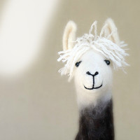 Debora - Felt Llama, Art Marionette Puppet Handmade Stuffed Toy. Alpaca. brown cream white neutral.  MADE TO ORDER.