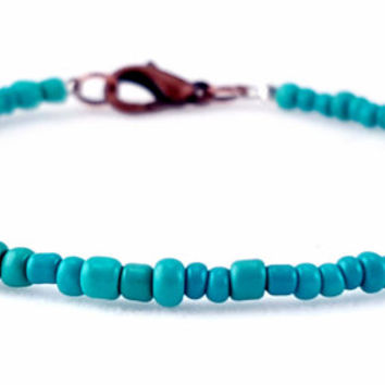 Boho Turquoise and Copper Seed Bead Bracelet // Turquoise Seed Beads // Bronze Findings // Stackable Bracelet //