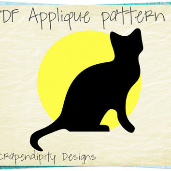 Black Cat Applique Pattern -  Halloween Applique Template / Yellow Moon Wall Hanging / Halloween Quilt Pattern / Kid Black Cat Shirt AP282-D
