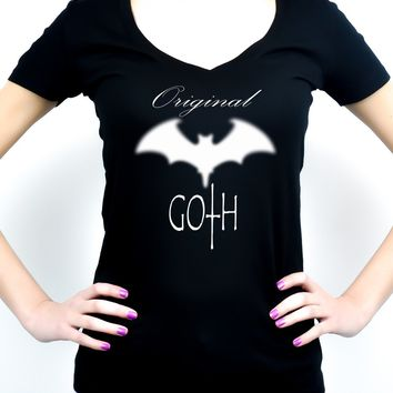 Original Goth Blurred Bat Women's V-Neck Shirt Top Punk Deathrock