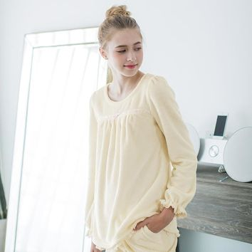 Women Vintage Pajama Set Coral velvet Pajamas Winter Home clothing Long sleeves Sleepwear Pyjamas Casual Pajama Soft&Comfortable
